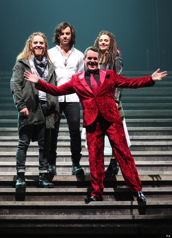 Tim Minchin (Judas),  Ben Forster, Chris Moyles (Herod)  and Melanie C during a dress rehearsal for the new production of Jesus Christ Superstar, at the LH2 centre in London.  //      Picture date: Monday September 17, 2012. Photo: Ian West/PA Wire