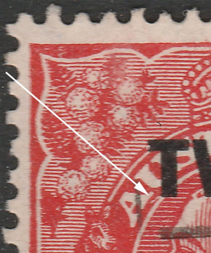 KGV Heads 2d on 1½d Surcharge  Before Surcharge BW92(4)da  State II, frame and wattle flaws corrected. Find more KGV Heads at Stamp Shop