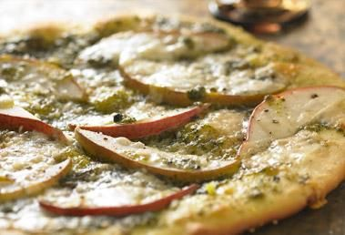 Monterey Gourmet Foods has the best recipes! Pear and basil pesto pizza! Yum!