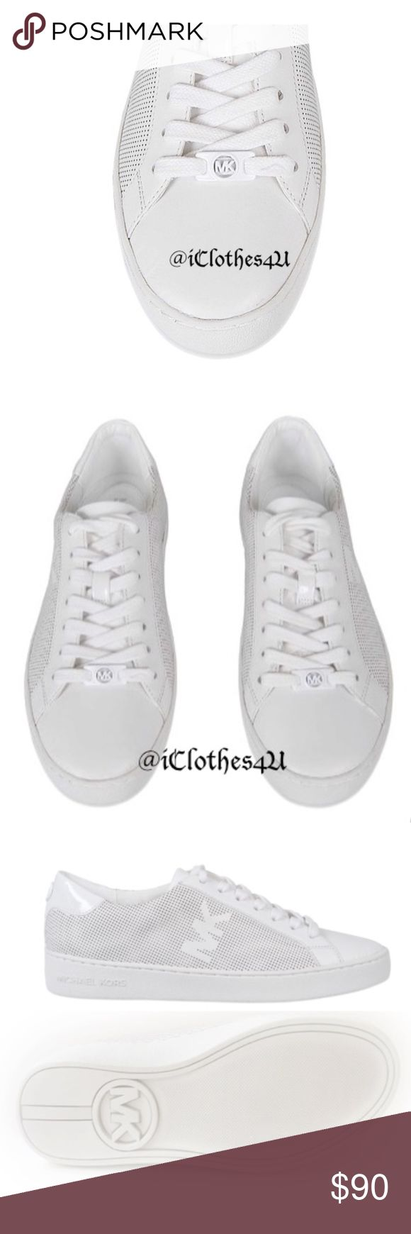 Michael Kors Classic Lace Up Leather Sneakers Michael Kors Lace Up Leather Sneakers are classic white sneakers with a round toe and perforated design to give it a contemporary urban feel.  These lace ups are 100% leather with a 100% Cotton lining and rubber outsole.  MK Logo on side, heel, bottom and woven in front through the lace will shine in these Optic White shoe. New with no box. Michael Kors Shoes Sneakers