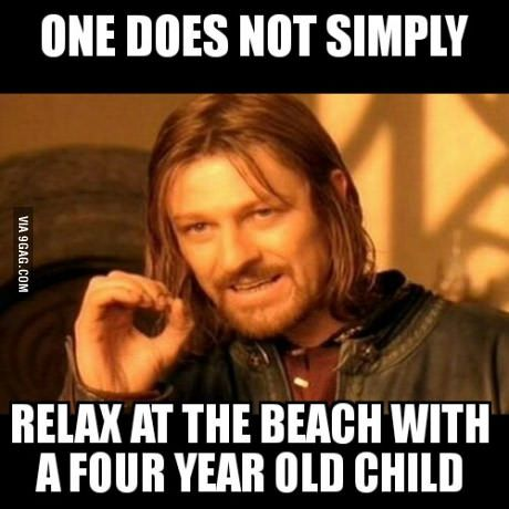 We worked hard all weekend. My wife wanted to relax at the beach. With our nephew.