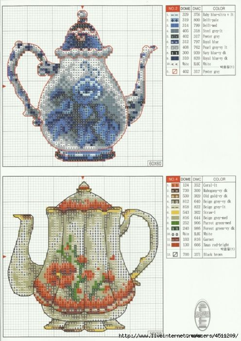 Cross-stitch Teapots