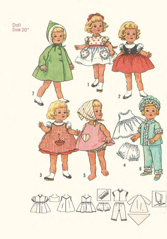 """Vintage 1960/'s Sewing Pattern Outfits Wardrobe Doll Clothes for 20/"""" Chatty Cathy"""
