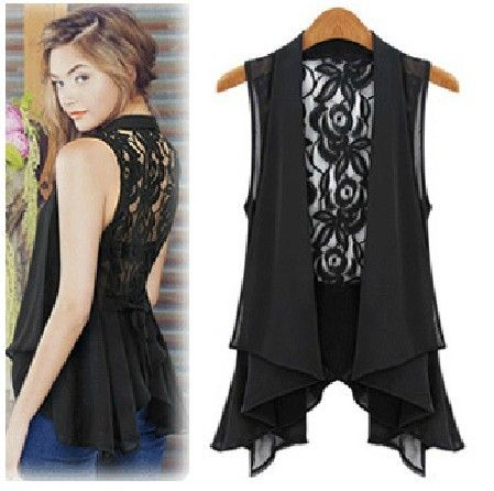 EAST KNITTING G12 Women's Sexy Blouse summer Casual Tops backless Lace chiffon T Shirt black white plus size XXL 2014 New-in T-Shirts from A...