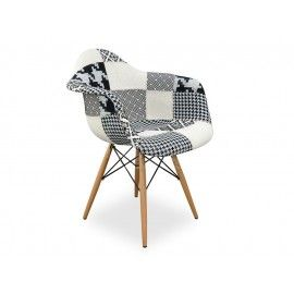$150.00 *2 OF THESE FOR LOUNGEROOM?** Replica Eames DAW Chair Black & White Patch Work - Fully upholstered