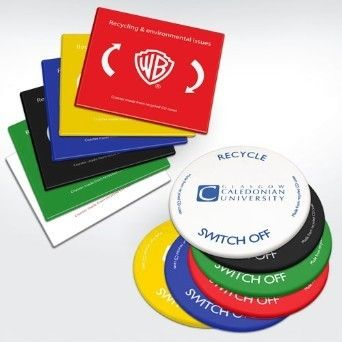 Recycled Round or square Coaster Full Colour Coaster made from recycled CD case plastic available in a choice of bright colours. Round or square as standard but bespoke shapes available as requested Available in White, Blue, Red, Green, Yellow Full Colour Transfer Print - See more at: http://www.drivingsales.co.uk/recycled-coaster-full-colour-transfer.html#sthash.K5SkZWhX.dpuf