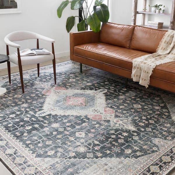 Alexander Home Leanne Traditional Distressed Printed Area Rug 7 6
