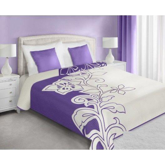 Prehozy na posteľ obojstranné fialovo krémovej farby so vzorom
