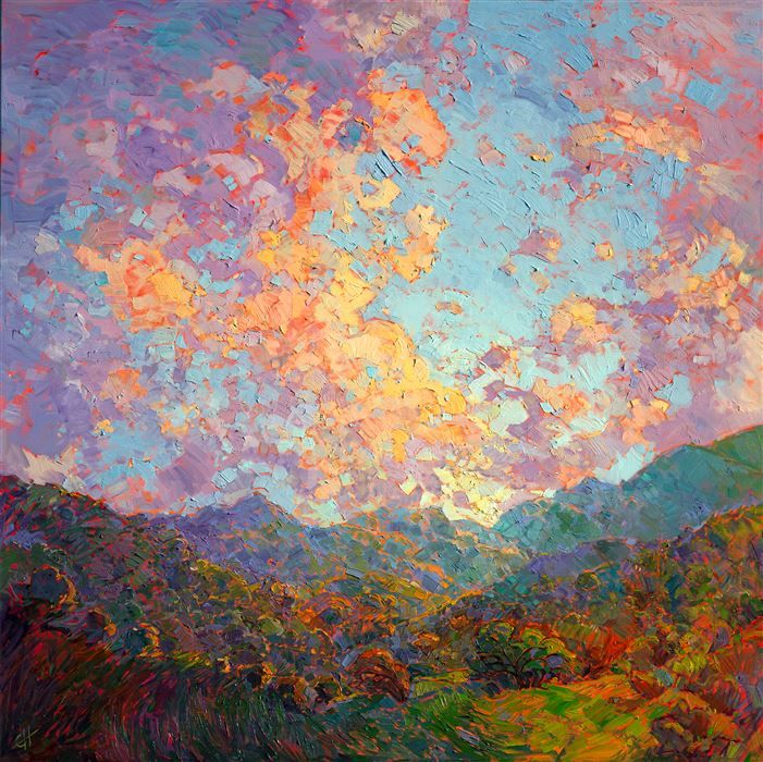 Modern impressionist oil painting of an abstract landscape, available for purchase online by Erin Hanson.