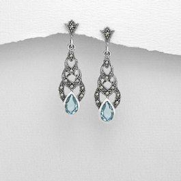 Flotte øreringe til brude - din something blue med blå zirkoner, marcasiter og 925 sølv. Skønt, skønt, skønt! Fra Norlume.dk brudebutik