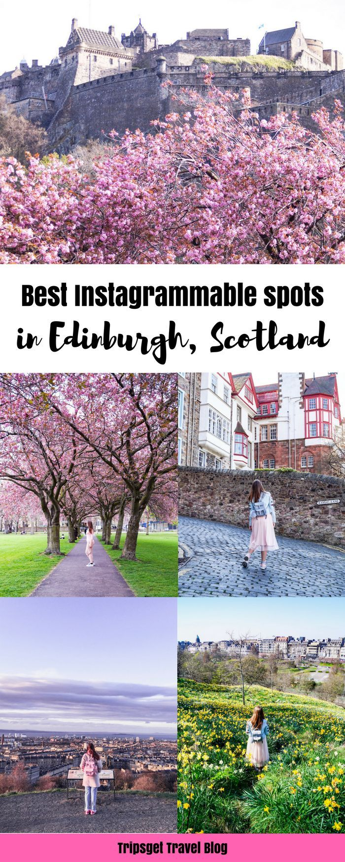 Looking for the best Instagrammable spots in Edinburgh, Scotland? You're in the right place, keep reading! Royal Mile, Calton Hill, Arthur's Seat, Edinburgh cute cafes, Edinburgh brunch spots, Instagrammable places in Scotland, UK, London, Cherry Blossom, Edinburgh University