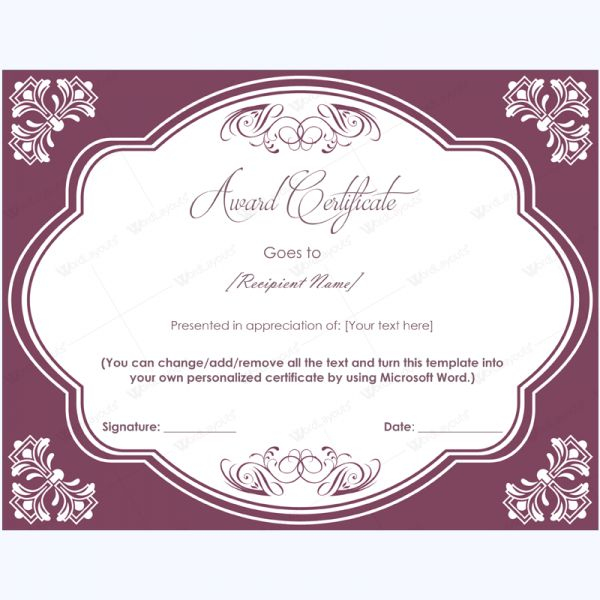 99 best Award Certificate Templates images on Pinterest - certificate in word