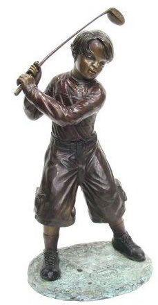 Bronze Boy Playing Golf Garden Statue Available At AllSculptures.com