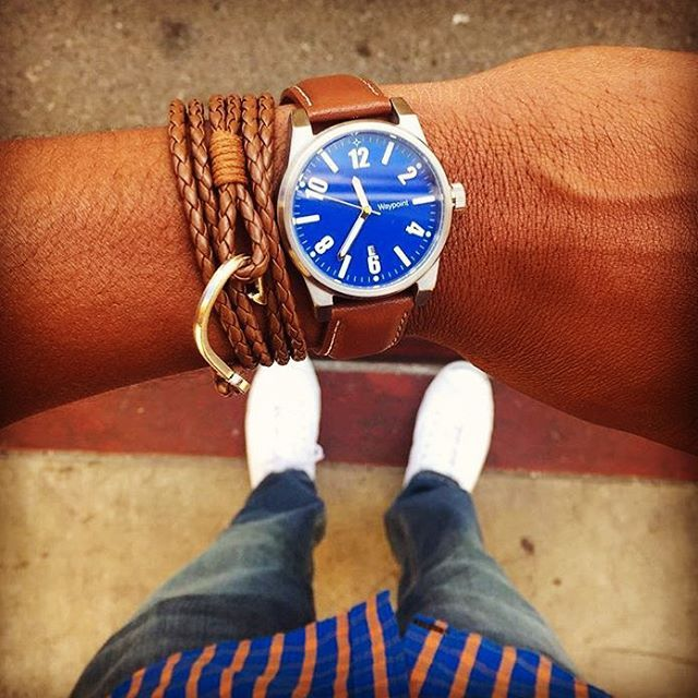 A #dapper gentleman knows how to pair complimentary accessories like #TheWinston hook bracelet and a leather banded watch.  View the entire range of @dappervigilante bracelets and #accessories at bit.ly/DapperVigilante.  #Regram @steezygent  #DapperVigilante