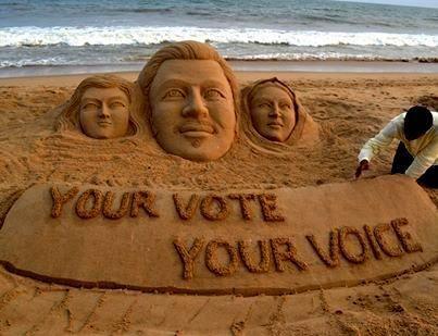 3 most Beautiful way to create Indian Vote Awareness using Sand Art by Sudarsan Pattnaik #Odisha #News #India #Vote #Election2014 | eOdisha.OrgeOdisha.Org