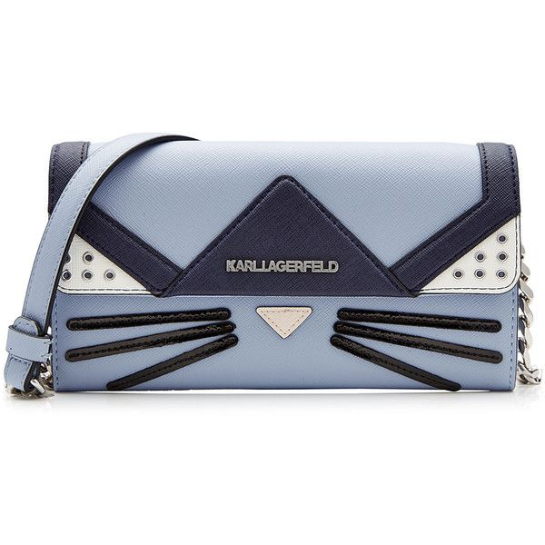 Karl Lagerfeld Cat Crossbody Mini Shoulder Bag found on Polyvore featuring bags, handbags, shoulder bags, blue, mini crossbody, blue shoulder bag, mini handbags, shoulder strap handbags and cat purse