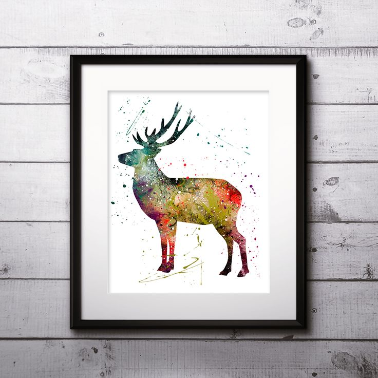 Deer Animals Watercolor illustration Paintings Posters Home Decor Wall Art Print