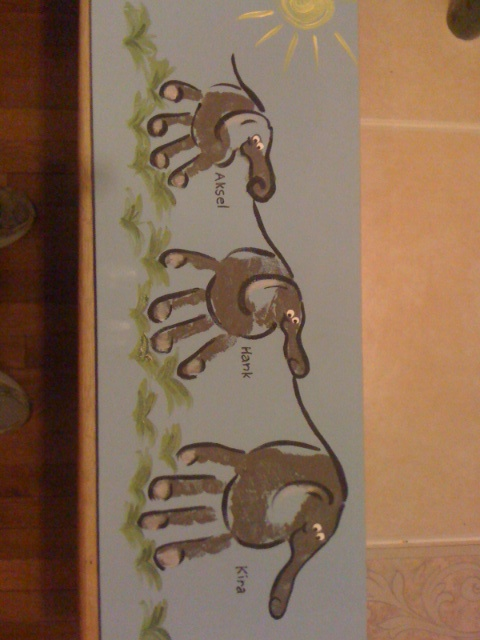 Handprint elephants - I couldn't pay the price at the zoo when I could make them myself at home!