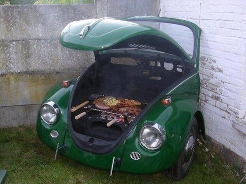 Upcycle Volkswagan Beetle. Saw old Beetle car in half (you might need some help with this project) use the front half in the garden as a barbeque.