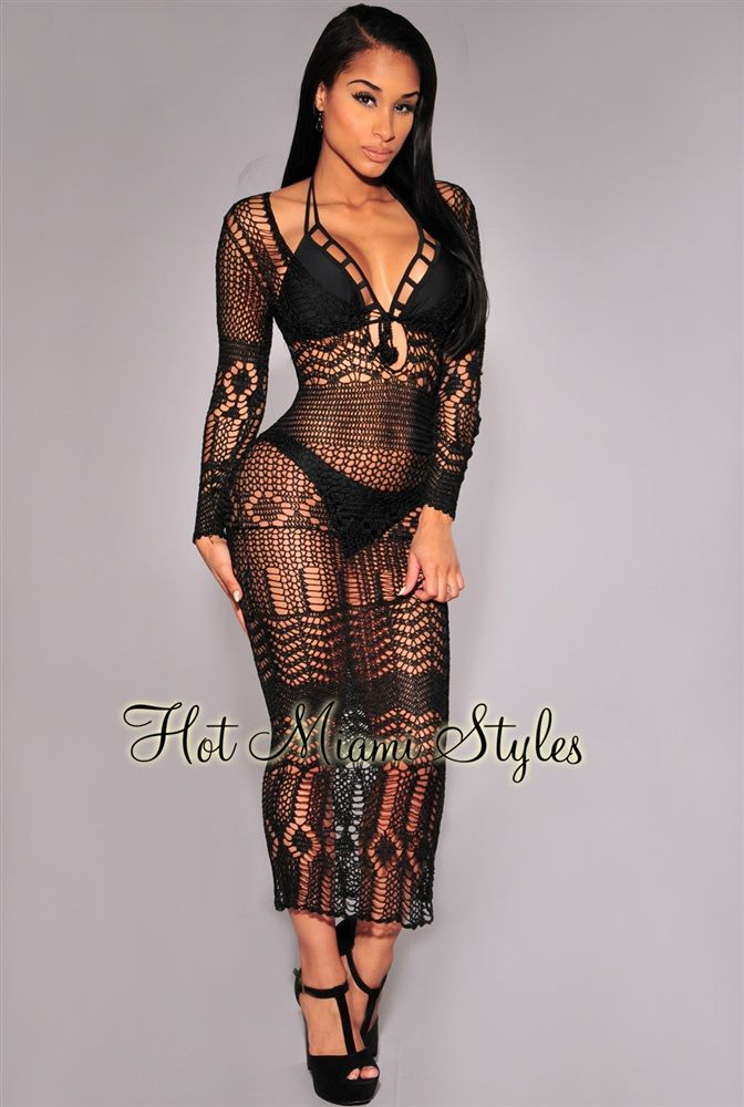 f15dbd36d8b Black Silky Crochet Cover-Up Long Sleeves Maxi Dress in 2019   Hmm..   Maxi  dress with sleeves, Crochet cover up, Crochet lingerie