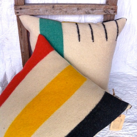 HUDSON - reconstructed hudson bay blanket pillow cases 18x18 pair. $130.00, via Etsy.