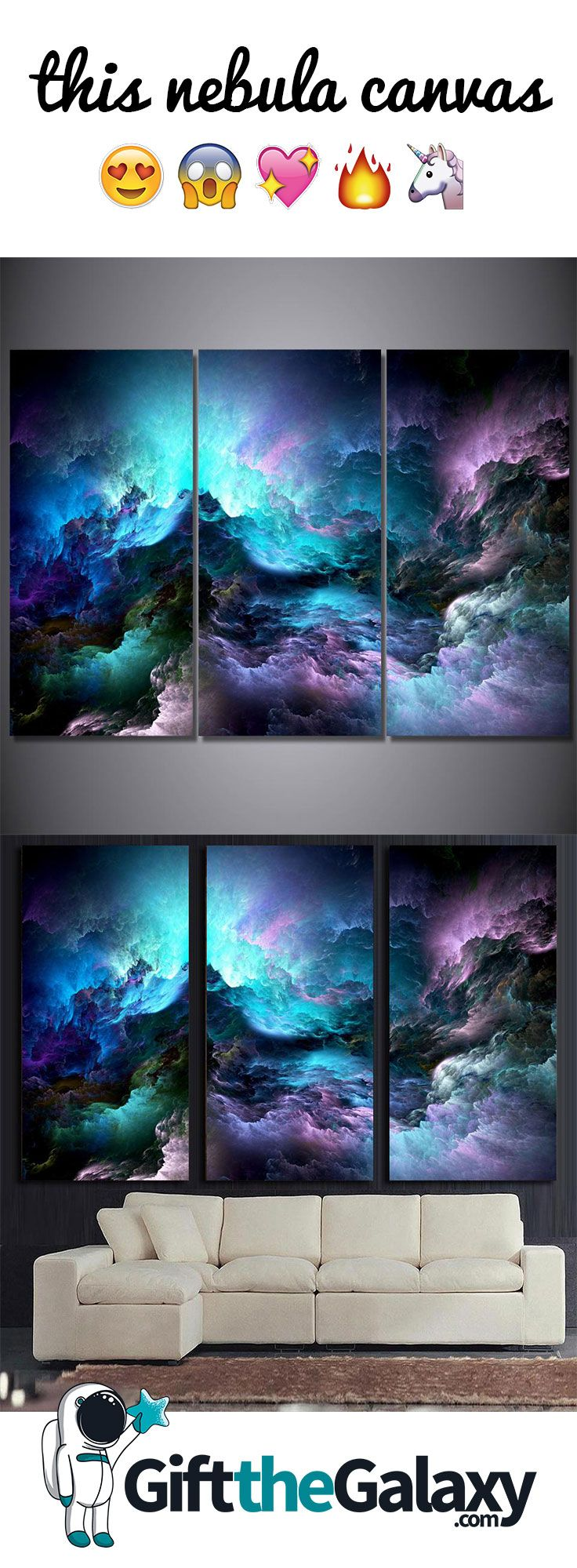 This stunning Nebula Canvas is the perfect addition to a living room, bedroom or any wall space. Shop the best gifts in the galaxy at GiftTheGalaxy.com! // Space Canvas Art Painting Printed Poster Space Themed Bedroom Décor Ideas Interior Design Unique Gift Space Gifts Space Gift Idea