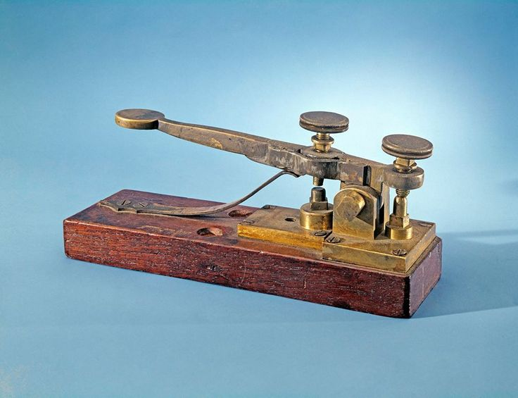 Jan. 6, 1838: In Morristown, New Jersey, Samuel Morse's telegraph system is demonstrated for the first time. This 1844 telegraph key by Alfred Vail, improving on Morse's original design, is believed to be from the first Baltimore-Washington telegraph line.