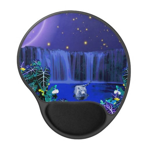 White Night Tiger Tropical Waterfall Gel Mouse Pad Gel Mouse Pad - This gel mouse pad features a white tiger wading in the water, taking a midnight dip the moon high in the sky, a waterfall behind and a tropical rain forest in front. http://www.zazzle.com.au/white_night_tiger_tropical_waterfall_gel_mouse_pad_gel_mousepad-159128431768899648?rf=238523064604734277