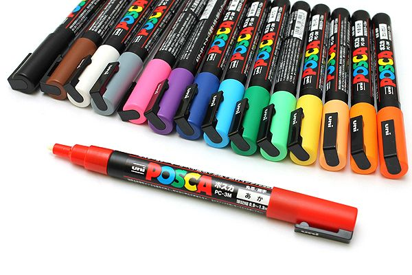 Uni Posca Paint Marker PC-3M - Fine Point - 15 Color Set - UNI PC3M 15C