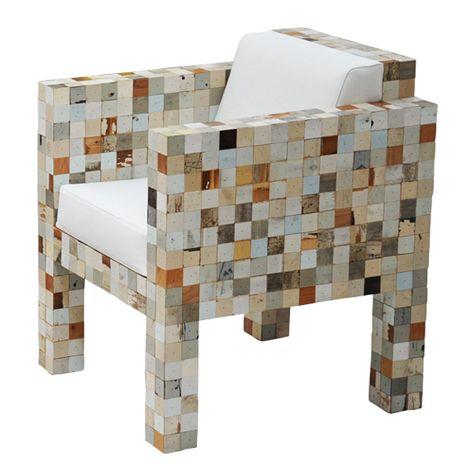 Piet Hein Eek utilise rognures de ses meubles de bois de rebut pour faire 40x40 des déchets des déchets