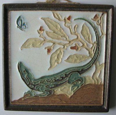 Vintage Cloisonne Tile Porceleyne Fles Delft Lizard Tegel   eBay