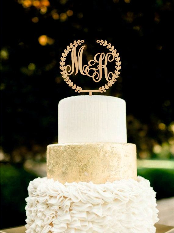 Custom Monogram Wedding Cake Topper Initial Wooden Rustic Toppers For Weddings Gold Silver