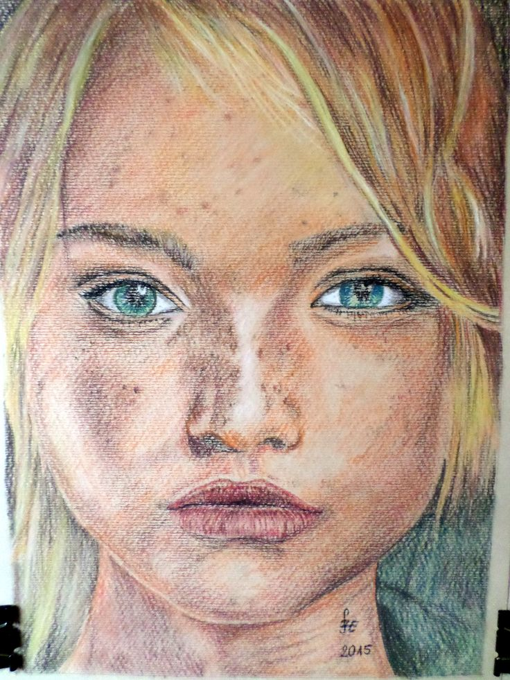 Blonde girl portrait with pastel by Erika Székesvári https://www.facebook.com/ercziart