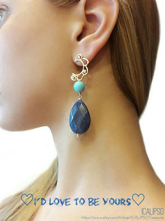 Blue dangle earrings in natural gemstones, turquoise and agate gold earrings now on etsy shop. Visit the store to see more: https://www.etsy.com/it/listing/512903086/blue-earrings-dangle-earrings-gemstone