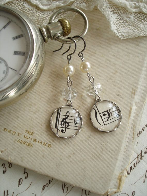 HARMONY - Music Earrings. Vintage Sheet Music Treble & Bass Clef. Antique Silver, Glass Crystals and Pearls. Upcycled Sheet Music Jewelry.