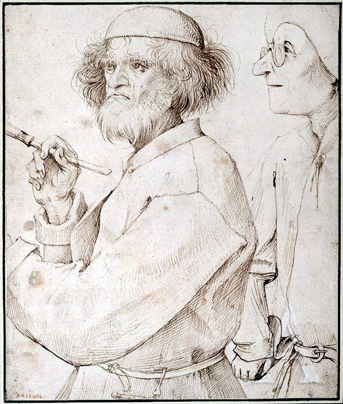 Pieter Bruegel the Elder, The Painter and The Connoisseur, circa 1565 (Albertina, Vienna). Accepted by most Bruegel scholars to be the artist's self-portrait, this has also been suggested to be a portrait of Hieronymus Bosch.
