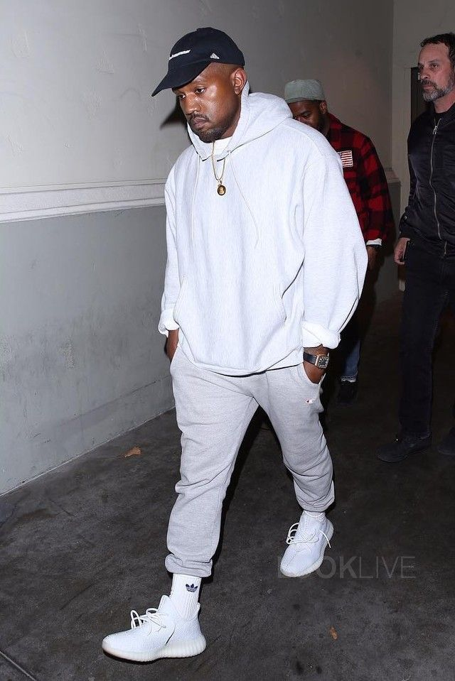 Kanye West wearing  Champion Powerblend Retro Fleece Jogger Pant, Richard Mille RM10 Skeleton in 18CT Rose Gold, Adidas Yeezy Boost 350 V2