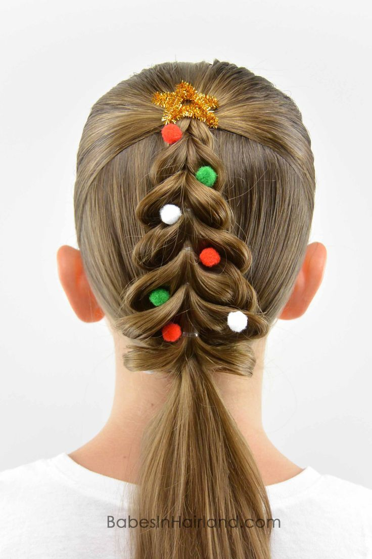 Add some Christmas cheer to your hair with this totally cute Christmas Tree Pull Through Braid hairstyle from BabesInHairland.com #christmashair #hair #christmastree #christmas #hairstyle #braid