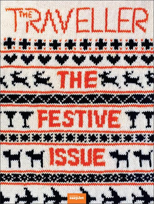 """coverjunkie:    The Traveller  Pretty cool new coverThe Traveller, the inflight magazine for easyJet airlineEditor Simon Kurs(from Ink-Global)tells me this issue included a Scandinavian christmas fashion shoot. """"We had a x-mas jumper actually knitted with the mast head and cover lines.""""art director for the cover: Mat Wiggins"""