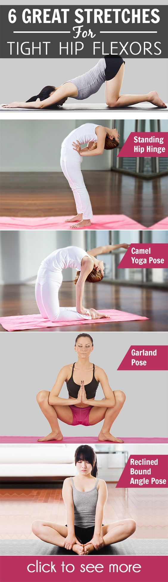 This is where the hip flexor stretches come to the rescue! These stretches help loosen the hip flexors and improve their flexibility.:
