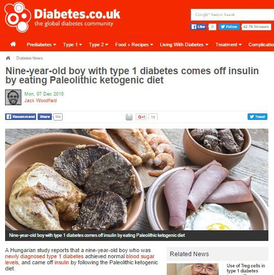 Nne-year-old boy with type 1 diabetes comes off insulin by eating Paleolithic ketogenic diet