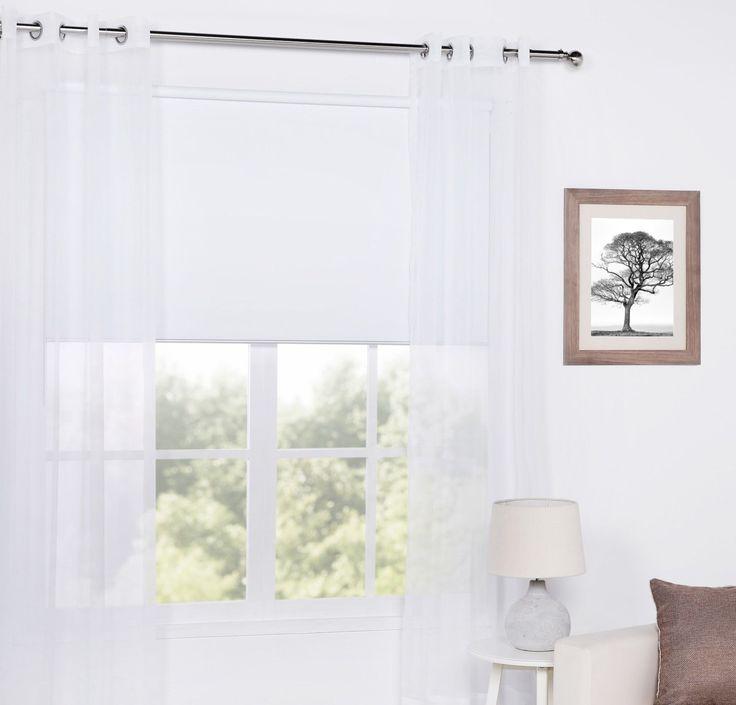 One Pair Sheer Window Curtains Eyelet Bedroom 145cmx245cm White Ivory Stone | eBay