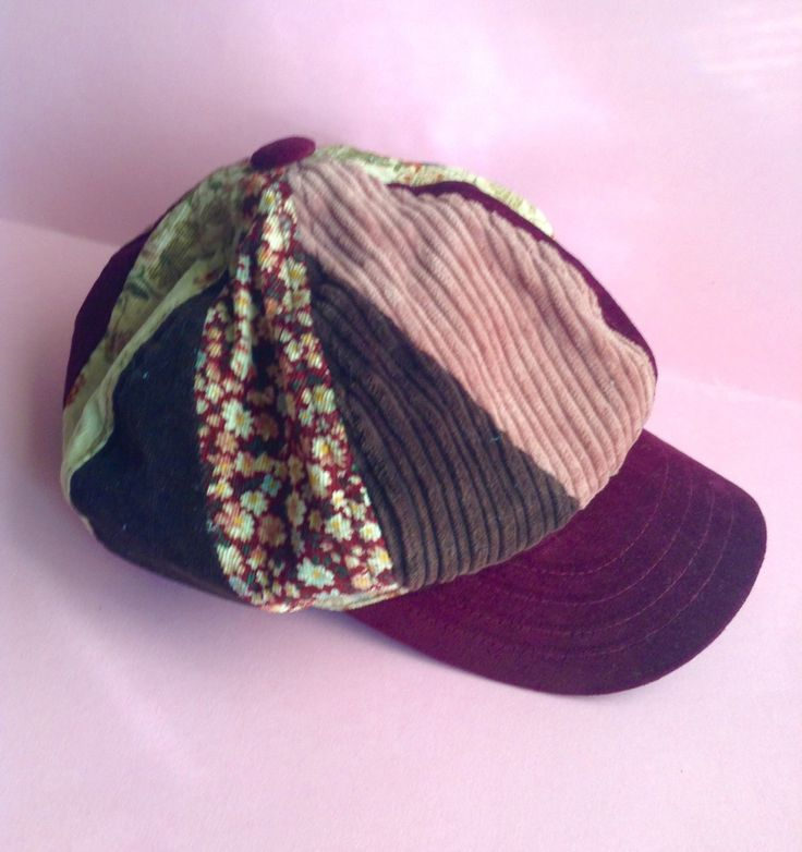 90's Corduroy Hat / Cap, velour, brown / pink / ecru / burgundy / floral, original, egst, Greece by GirlyStuffByDeJaVu on Etsy
