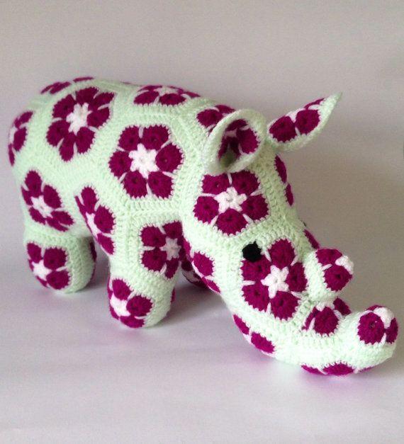 Crochet African Flower Rhino Toy  handmade granny by MaglonaMakes, £38.00