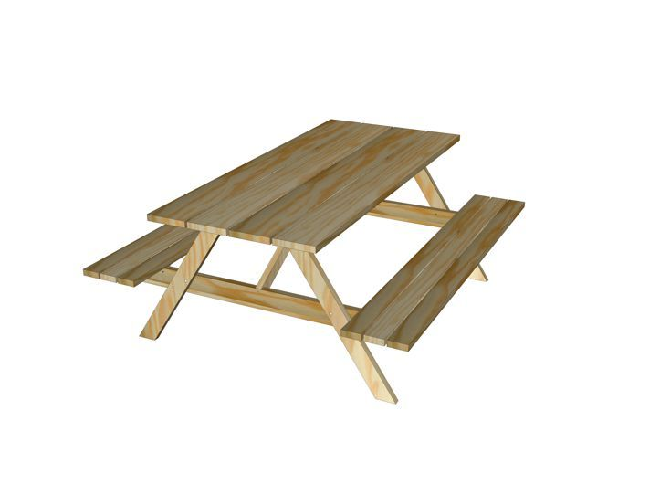 Werktekening bouwtekening Tafel, picknicktafel 'Nevada'   Woodworking project plans diy ...