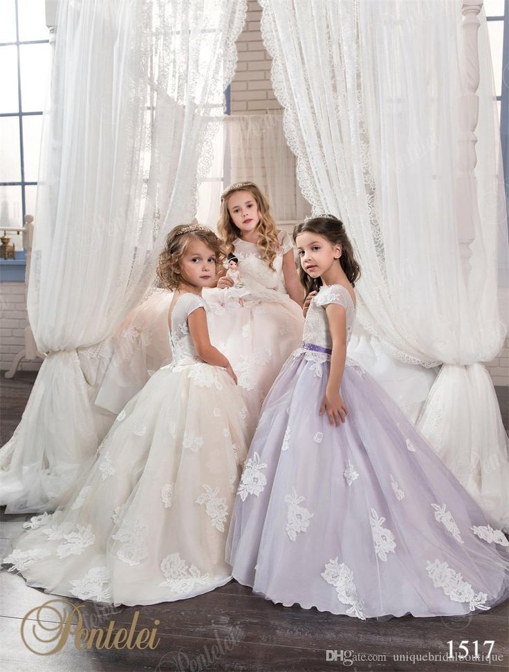 Long flower girls dresses 2017 pentelei with cap sleeves for Flower girls wedding dress