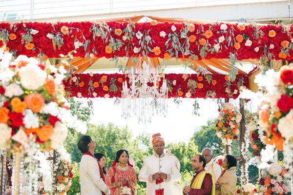 Flowered wedding mandap.