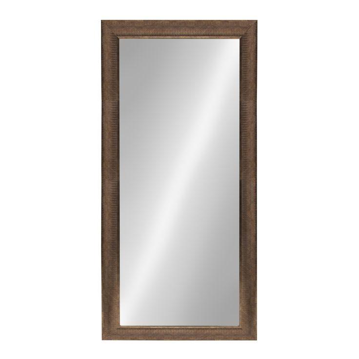 Kate and Laurel Carrollton Framed Wall Beveled Mirror (31x67), Grey metal