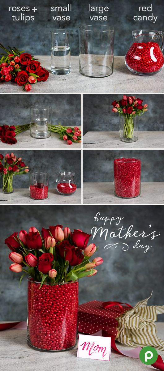 Make your Mother's Day bouquet even more personal by using a double vase. Find the perfect flower bunches in the Publix floral section, and then get crafty with two vases and colorful candies.