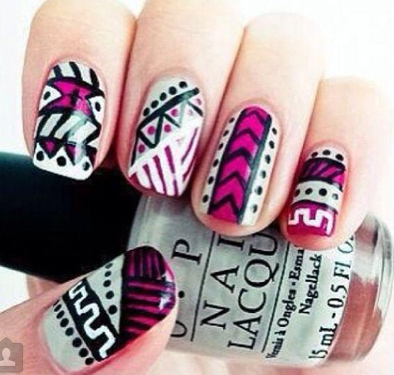 Pink & Blue & Black & White | Aztec |  Nails
